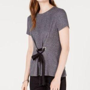 Maison Jules Crew-Neck Tie-Front T-Shirt Charcoal